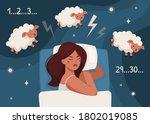 insomnia. flat vector...   Shutterstock .eps vector #1802019085
