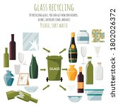 used glass items and items made ... | Shutterstock .eps vector #1802026372