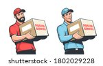 delivery man  courier in cap... | Shutterstock .eps vector #1802029228