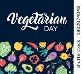 vegetarian day handwritten text ...   Shutterstock .eps vector #1802074048