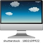computer with sky on screen... | Shutterstock .eps vector #1802109922