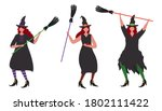 witches dance with brooms.... | Shutterstock .eps vector #1802111422