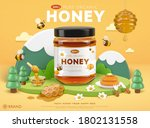 organic honey ad template with... | Shutterstock . vector #1802131558