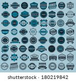 Racing badges - big blue set, vintage style, vector illustration