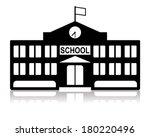 school building in black and... | Shutterstock .eps vector #180220496