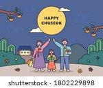 chuseok  a big holiday in korea.... | Shutterstock .eps vector #1802229898