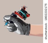 hand holding tattoo machine on... | Shutterstock .eps vector #1802232175