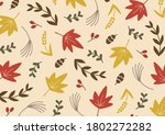 autumn leaves and tree nuts...   Shutterstock .eps vector #1802272282