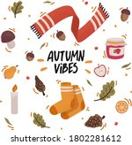 vector set of autumn icons with ... | Shutterstock .eps vector #1802281612