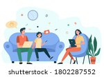 parents couple and kid using... | Shutterstock .eps vector #1802287552