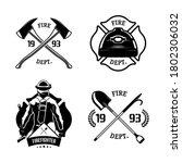 Firefighters Emblems Set. Fire...