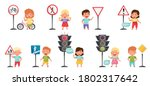 smiling kid characters learning ... | Shutterstock .eps vector #1802317642