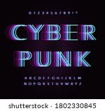 cyber punk letters and numbers... | Shutterstock .eps vector #1802330845