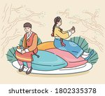 a man and woman in traditional... | Shutterstock .eps vector #1802335378