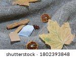 Tea Bag  Dried Maple Leaves On...