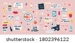 large set of trendy stickers.... | Shutterstock .eps vector #1802396122
