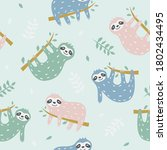 childish seamless pattern with... | Shutterstock .eps vector #1802434495