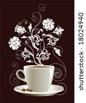 cup of coffee with floral... | Shutterstock .eps vector #18024940