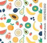 natural tropical doodle fruits. ... | Shutterstock .eps vector #1802502202