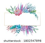 Floral Frame With Purple...