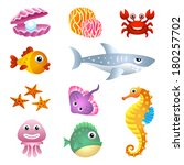 sea creatures | Shutterstock .eps vector #180257702