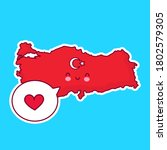 cute happy funny turkey map and ... | Shutterstock .eps vector #1802579305