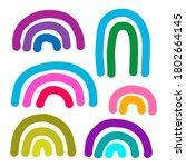 pastel colors rainbow hand... | Shutterstock .eps vector #1802664145