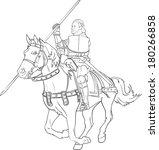 fighting knight on horseback  ... | Shutterstock .eps vector #180266858