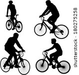 bicyclists silhouettes   vector | Shutterstock .eps vector #180275258