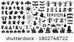 set of silhouettes of halloween ... | Shutterstock .eps vector #1802768722