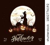 happy halloween theme with... | Shutterstock .eps vector #1802776192