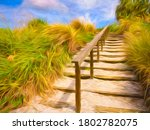 Grassy Hillside With Wooden...