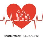 family on heart shape on white... | Shutterstock .eps vector #180278642