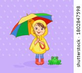 Happy child in a yellow raincoat with a green frog under a rainbow umbrella during rain. Vector positive art.