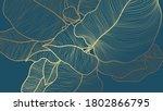golden monstera leaf botanical... | Shutterstock .eps vector #1802866795