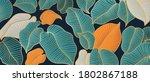 golden monstera leaf botanical...   Shutterstock .eps vector #1802867188