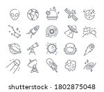 set of space icons with rockets ... | Shutterstock .eps vector #1802875048