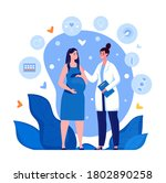 pregnant woman at the doctor's... | Shutterstock .eps vector #1802890258