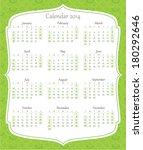 calendar 2014 green | Shutterstock .eps vector #180292646