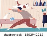 joyful man playing with funny... | Shutterstock .eps vector #1802942212