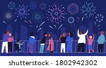 crowd of people admiring... | Shutterstock .eps vector #1802942302