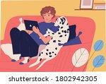 focused guy and dog sit on... | Shutterstock .eps vector #1802942305