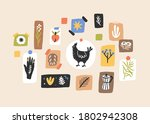 wall with colorful cute images... | Shutterstock .eps vector #1802942308