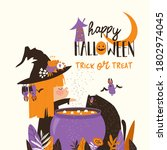 halloween witch cooks a magic... | Shutterstock .eps vector #1802974045