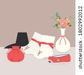 korean traditional clothes... | Shutterstock .eps vector #1802992012