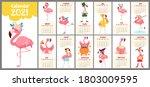Cute Stylized Monthly Calendar...