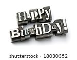 Small photo of The phrase Happy Birthday photographed using a mix of vintage letterpress characters.