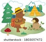 Vector Cartoon Of Camping In...