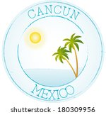 stamp cancun | Shutterstock .eps vector #180309956