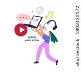 flat design concept of online... | Shutterstock . vector #1803132172